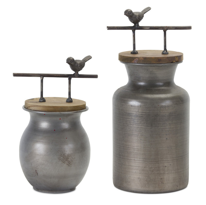 Jars with Bird Handles / Set of Two