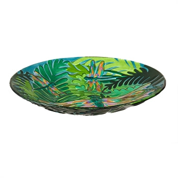 Glass Iridescent Dragonfly Large Bowl/Birdbath