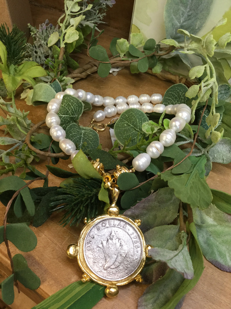 Vintage Seashell Coin & Pearl Necklace