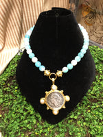 Agate Necklace with Vintage French Coin Intaglio
