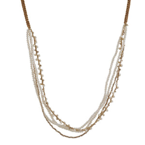 Danielle Welmond- White Gold Vermeil and Pearl Multi-Strand Necklace