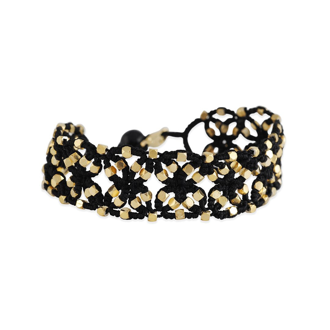 Danielle Welmond - Woven Bracelet with Gold Beads