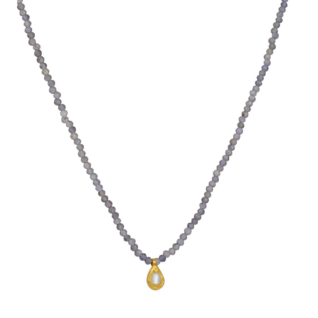 Margaret Solow - Iolite Beaded Necklace with Pearl Pendant