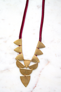 Acrylic and Brass Triangle Flag necklace with Triangle Drop Pendant