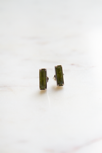 Peridot Small Faceted Baguette Stud