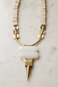 Magnesite, Brass and White Jade Necklace