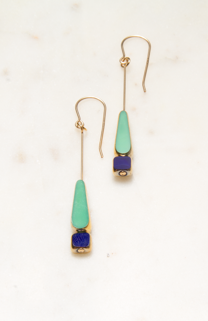 Green Tear with Navy Bead Earring