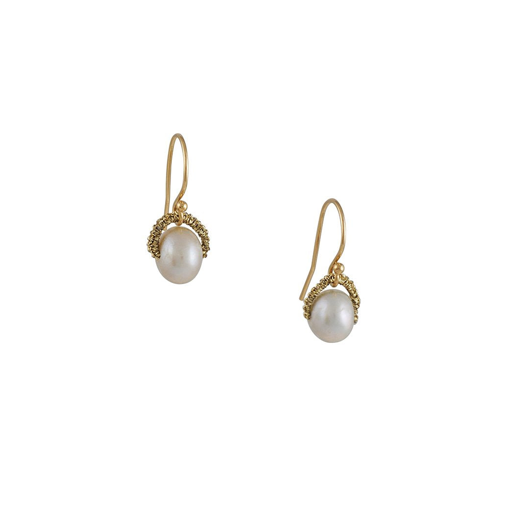 Danielle Welmond - Silver Pearl Drop Earrings