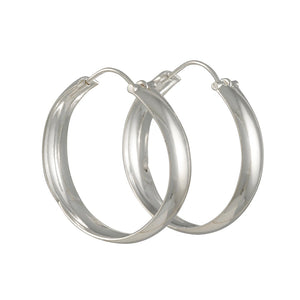 Tashi - X large Sterling Domed Hoops