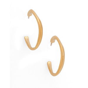 Philippa Roberts - Thin Organic Hoop Earrings in Gold Vermeil