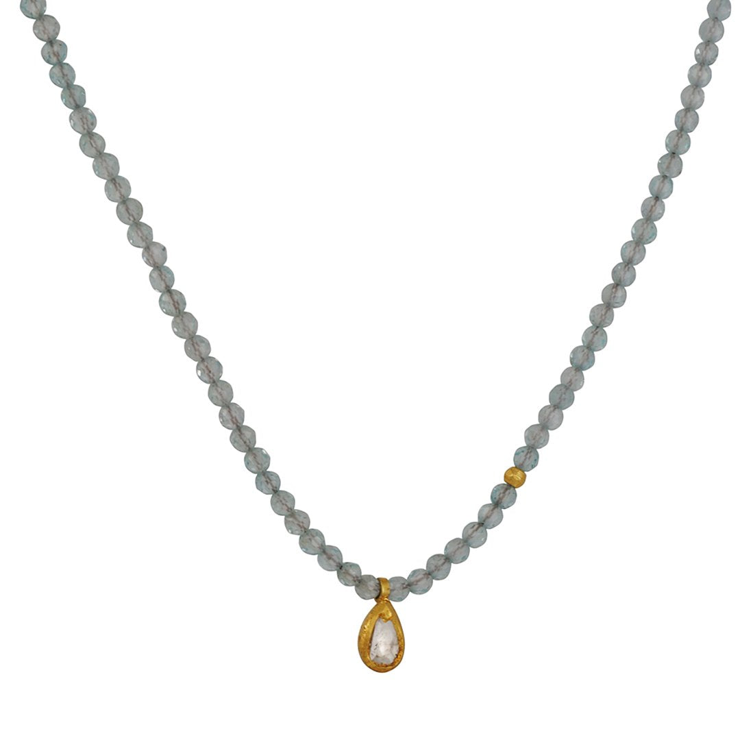Margaret Solow - Blue Topaz Beaded Necklace with Polki Diamond Pendant