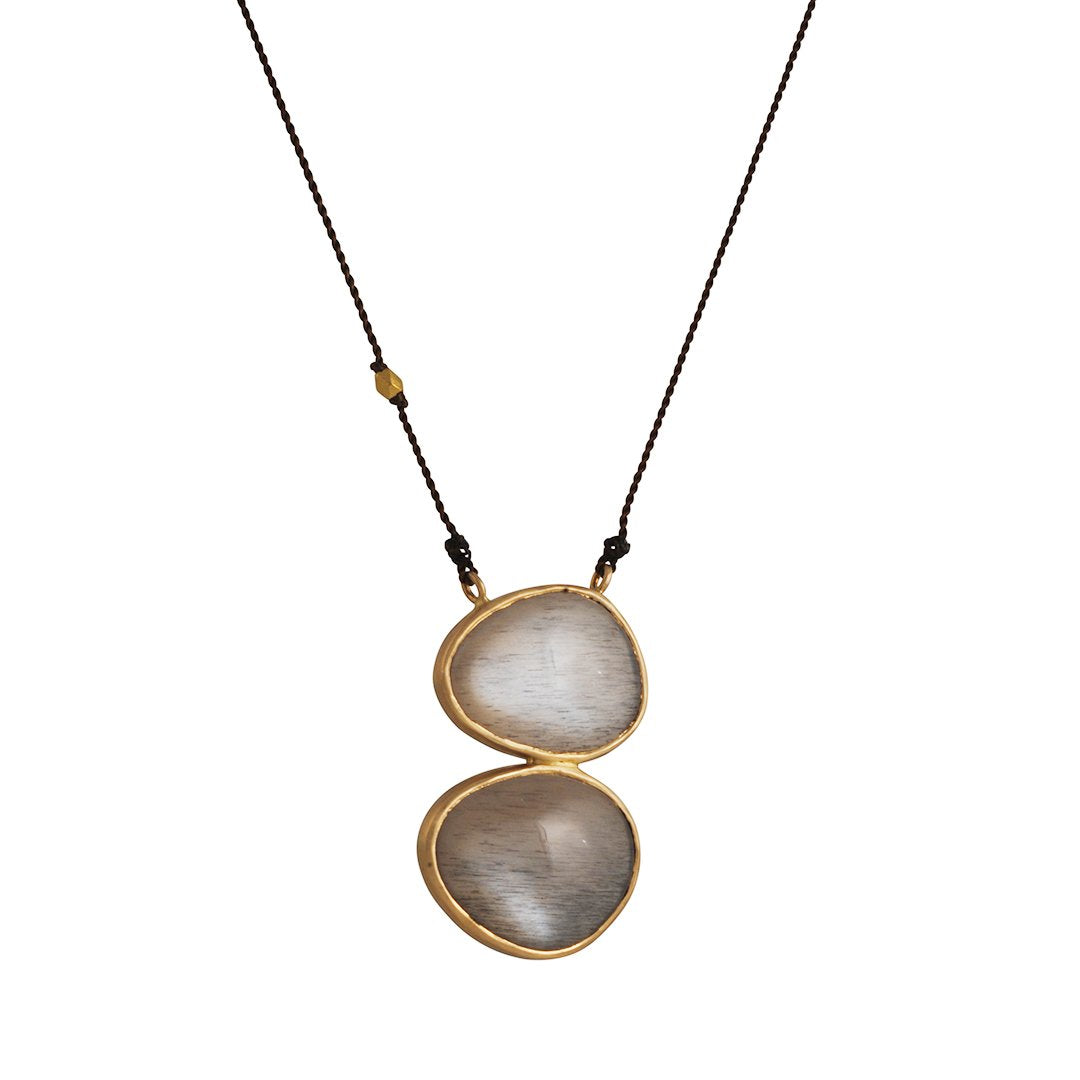 Margaret Solow - Double Feldspar Drop Pendant Necklace