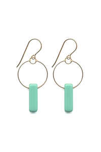 Teal Deco Bar Hoops