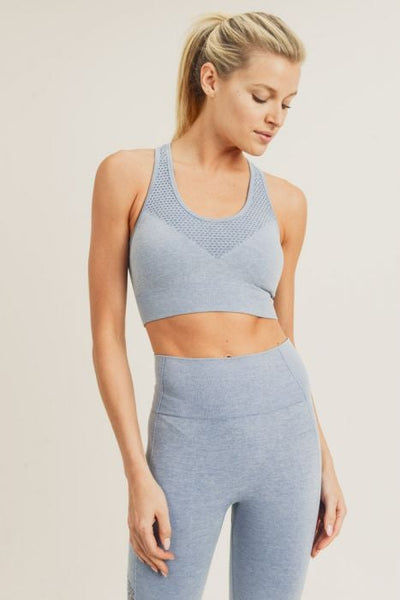 Front Perforated Racer Sports Bra