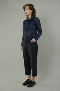 Pleated Hem Straight Pants