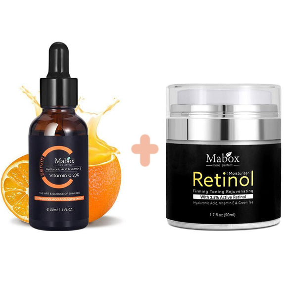 MABOX 2.5% Retinol Whitening Face Cream + Vitamin C aging Moisturizer Whitening Serum Face Cream Anti Q7N9
