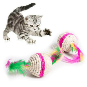 Double-headed Feather Cat Catch Ball Interactive Toy, Colorful Creative Feather And Ball Pet Gift, Funny Cat Ball Teeth Cleaning - Authentic Option