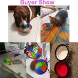 Dog Water Food Container Collapsible Silicone Folding Mutilcolor Dog Cat Bowl Outfit Portable Travel Bowl Dog Feeder Cup