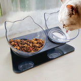 Non-slip Double Cat Bowls Dog Bowl Transparent Feeders with Raised Stand Protection Cervical Feeding&Watering Bowl Pet supplies