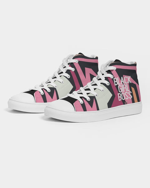 Graffiti Print #BlackGirlBoss Women's Hightop Canvas Shoe