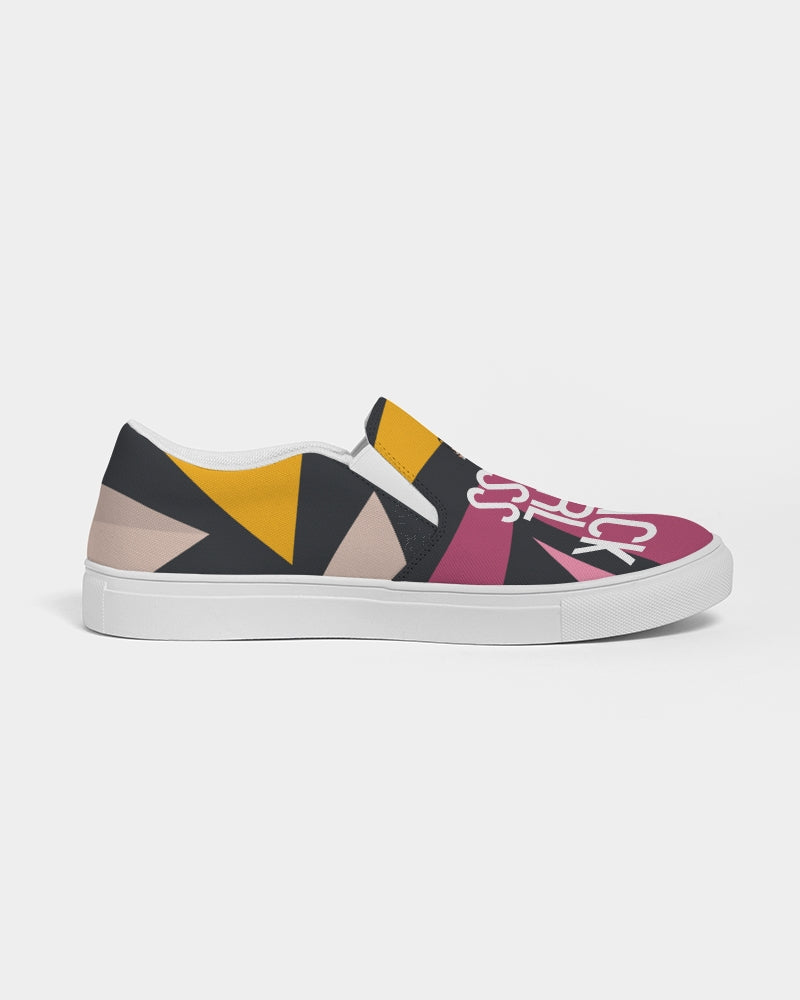 Graffiti Print #BlackGirlBoss Women's Slip-On Canvas Shoe