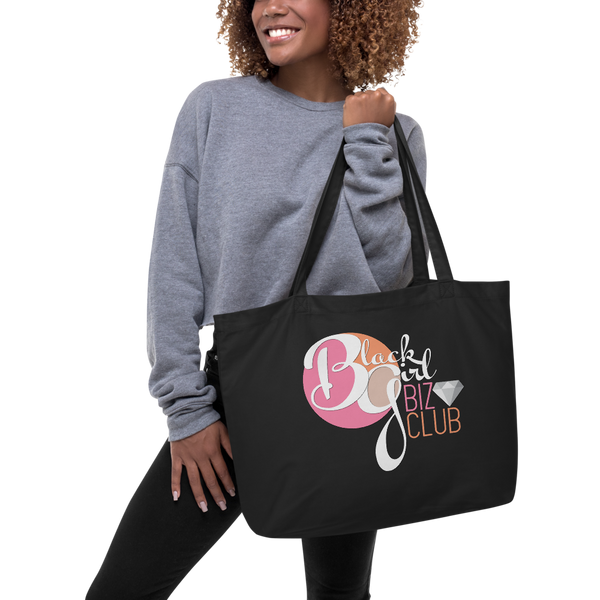Black Girl Biz Club™ Large Black Organic Tote Bag