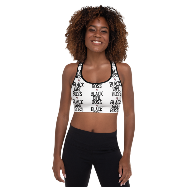 Black Girl Boss All-Over Padded Sports Bra