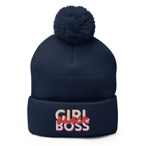 #BlackGirlBoss Statement Pom-Pom Beanie