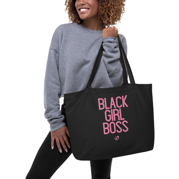 Black Girl Boss Pink Text Large Black Organic Tote Bag