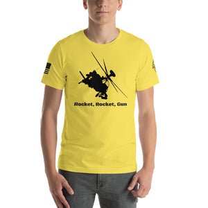 """Rocket, Rocket, Gun"" Apache Helicopter Short-Sleeve Cotton T-Shirt by Ruck & Rotor"