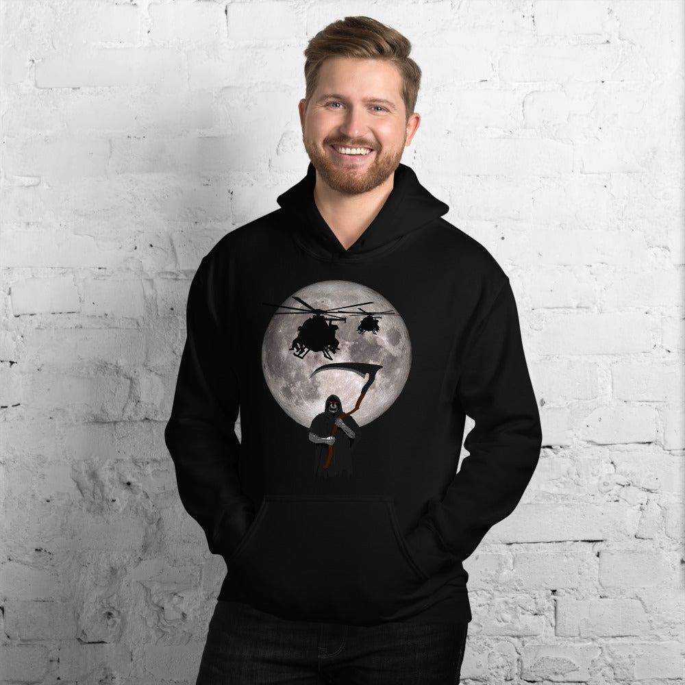 MH-6 Little Bird Reaper Moon Unisex Hoodie by Ruck & Rotor