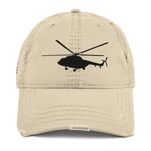Mi-17 side view w/USA Flag Black Embroidered Distressed Dad Hat by Ruck & Rotor