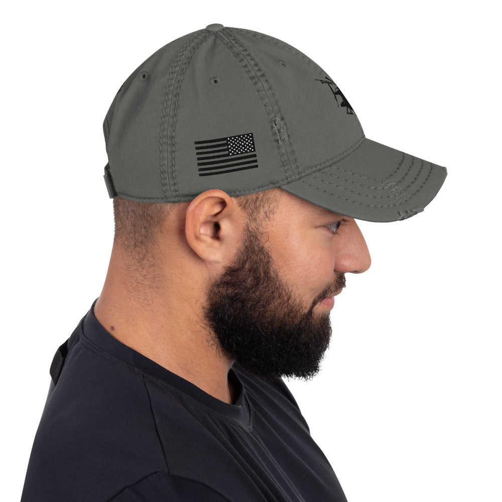 AH-6 Embroidered Distressed Hat w/USA Flag, Khaki, Charcoal Grey or Navy by Ruck & Rotor