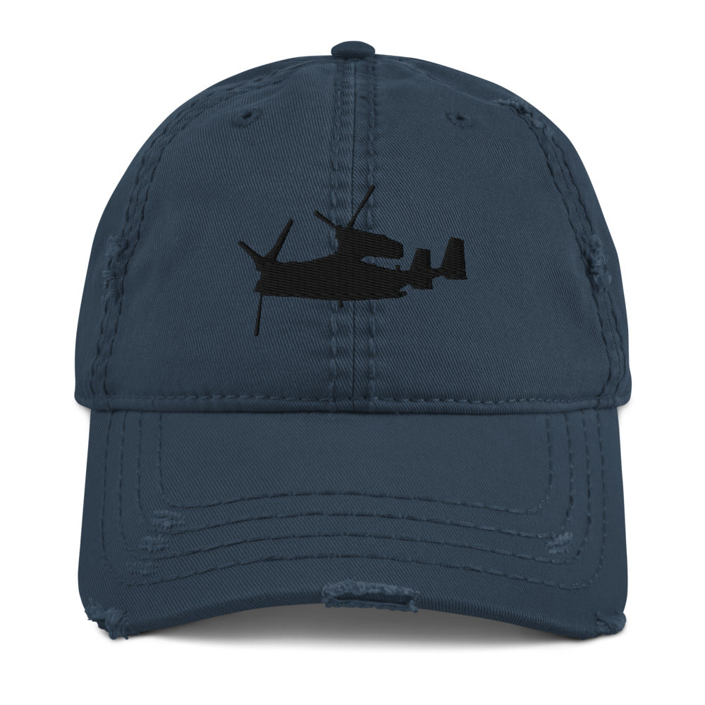 V-22 Osprey Embroidered Distressed Hat by Ruck & Rotor black embroidery