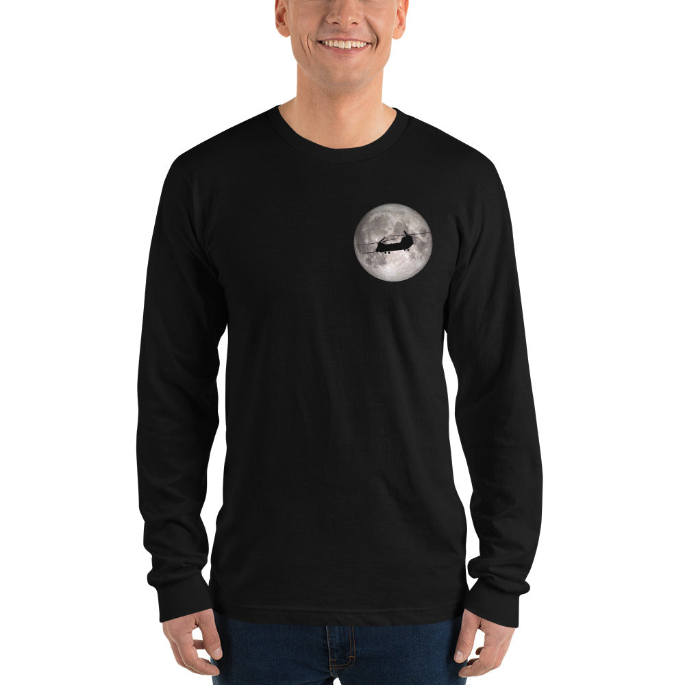 MH-47 Chinook Full Moon Long sleeve t-shirt by Ruck & Rotor