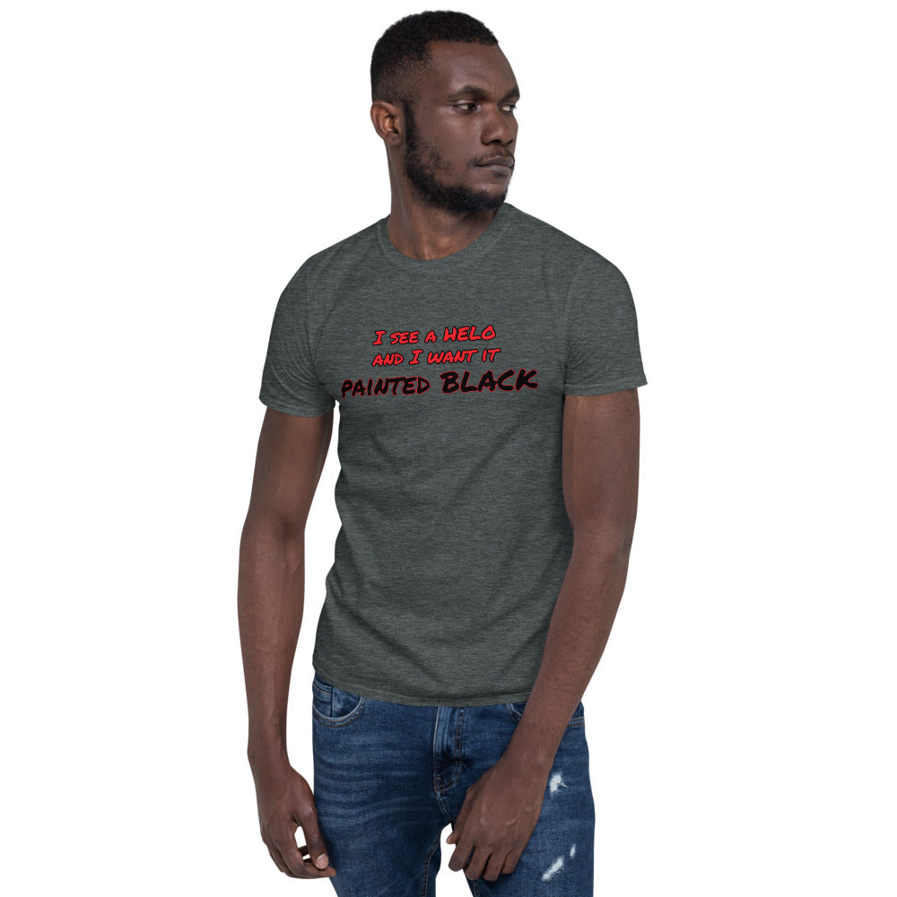 """HELO painted BLACK"" Short-Sleeve Unisex T-Shirt by Ruck & Rotor"