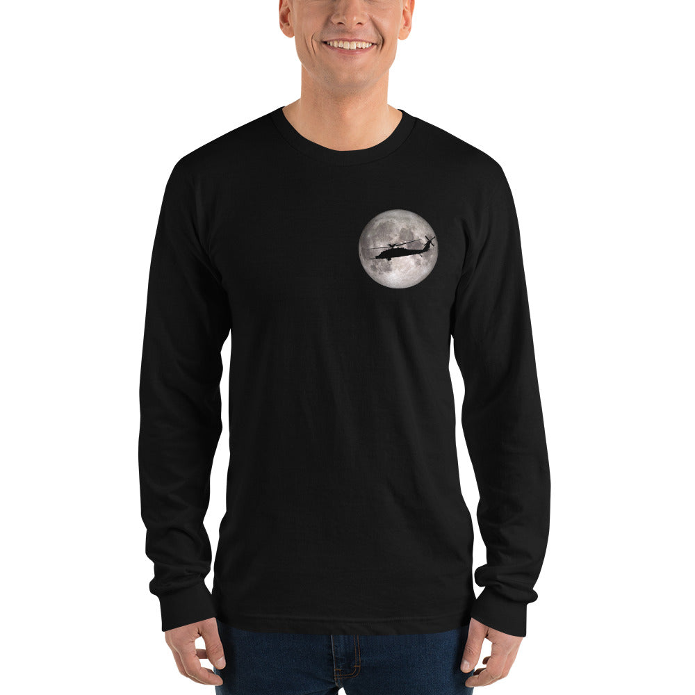 MH-60 Black Hawk Full Moon Long sleeve t-shirt by Ruck & Rotor
