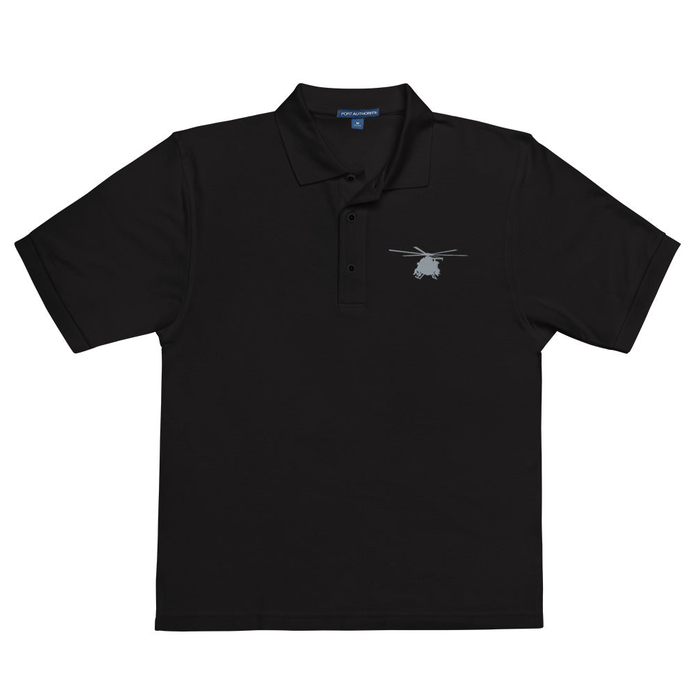 MH-6 Helicopter Embroidered Men's Premium Polo by Ruck & Rotor
