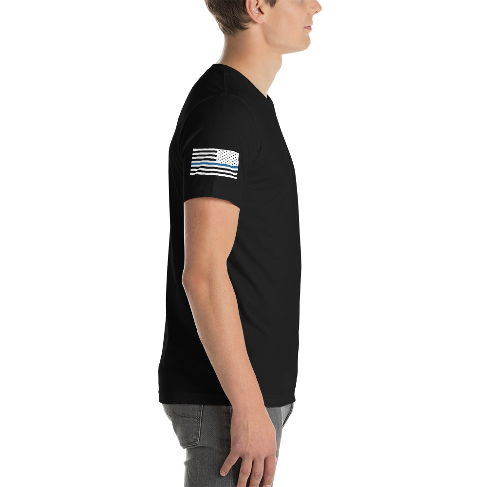 """Blue Line"" Short-Sleeve Unisex Cotton T-Shirt by Ruck & Rotor"