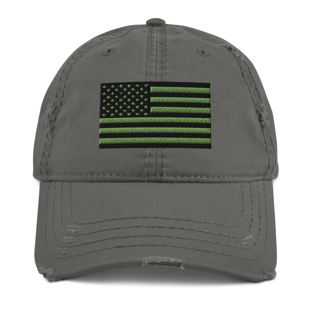 USA Flag Subdued Embroidered Distressed Dad Hat by Ruck & Rotor