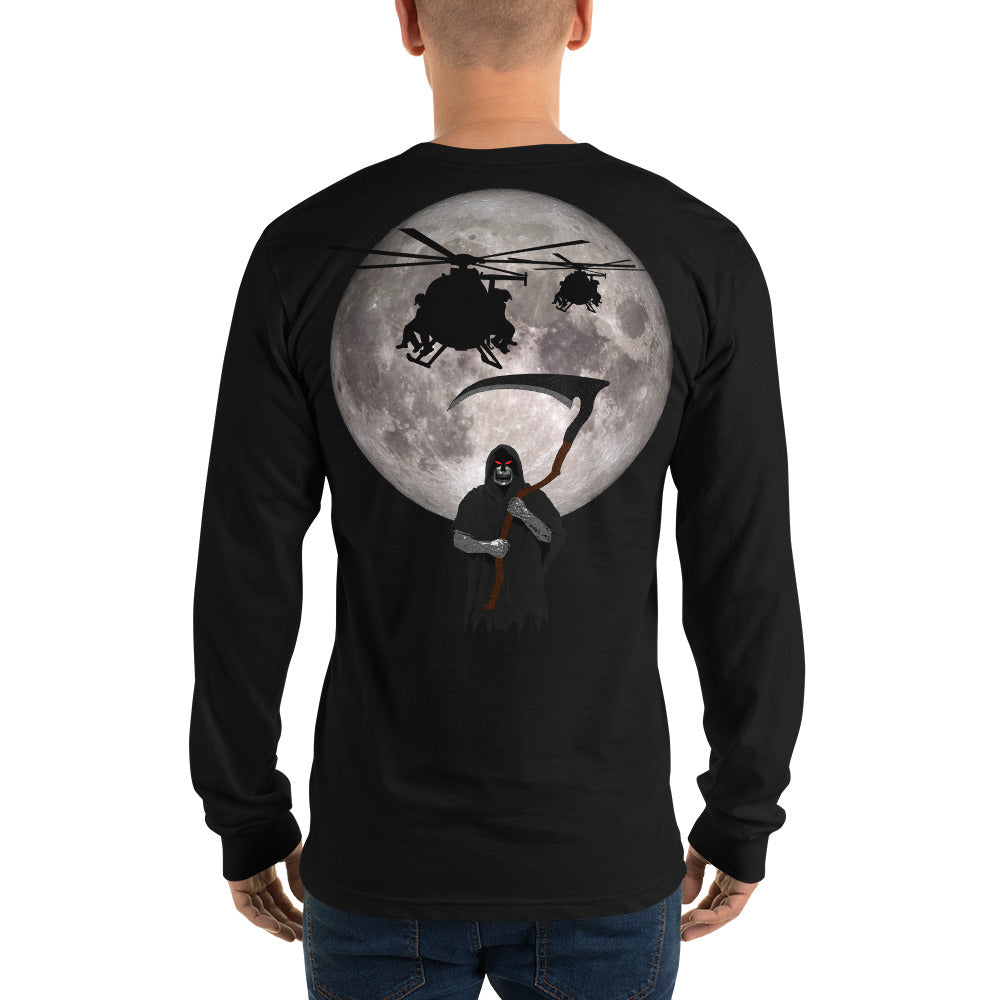 MH-6 Little Bird Reaper Moon Long sleeve t-shirt by Ruck & Rotor