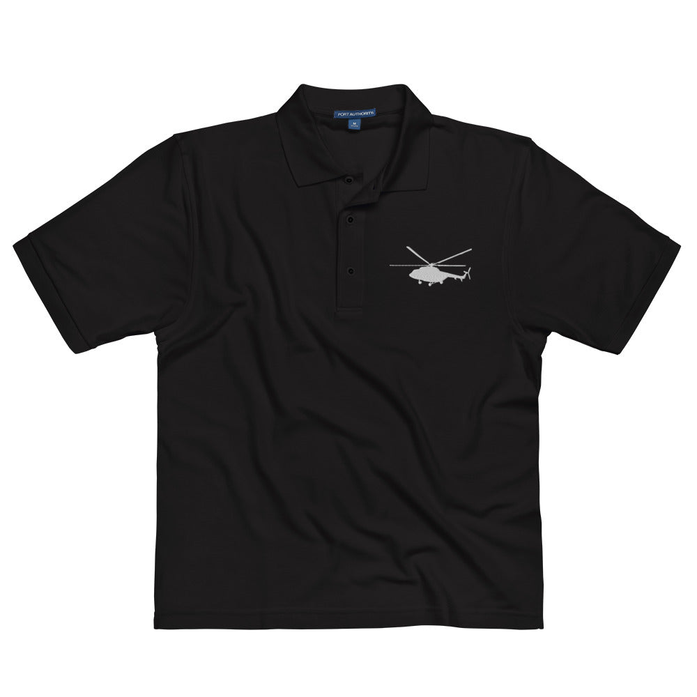 Mi-17 side view Embroidered Men's Premium Polo by Ruck & Rotor
