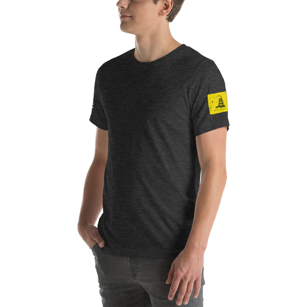 Ruck & Rotor large logo with Gadsden and USA Flags poly-blend Short-Sleeve Unisex T-Shirt