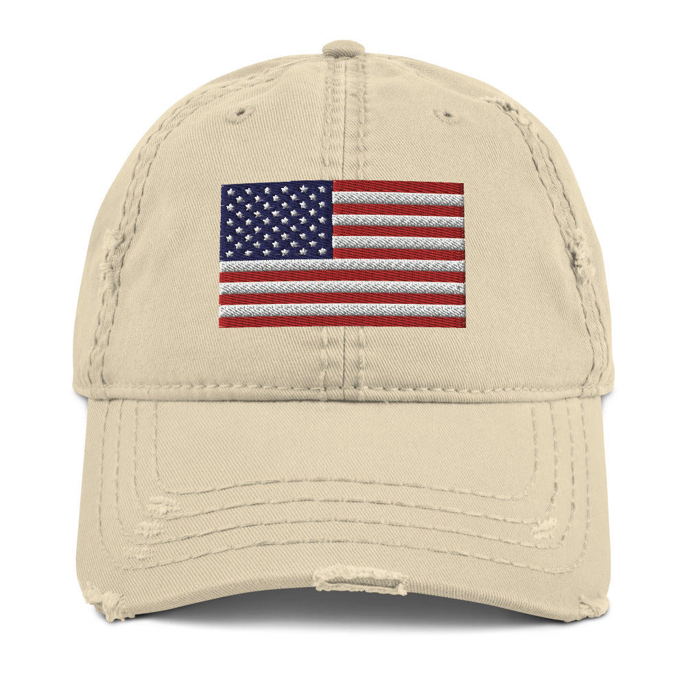 USA Flag Embroidered Distressed Dad Hat by Ruck & Rotor