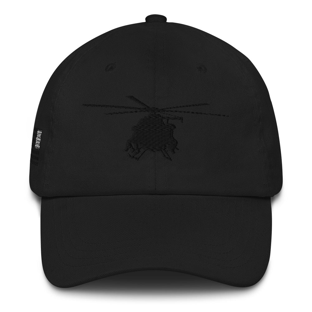 MH-6 Black Embroidered hat w/USA Flag by Ruck & Rotor