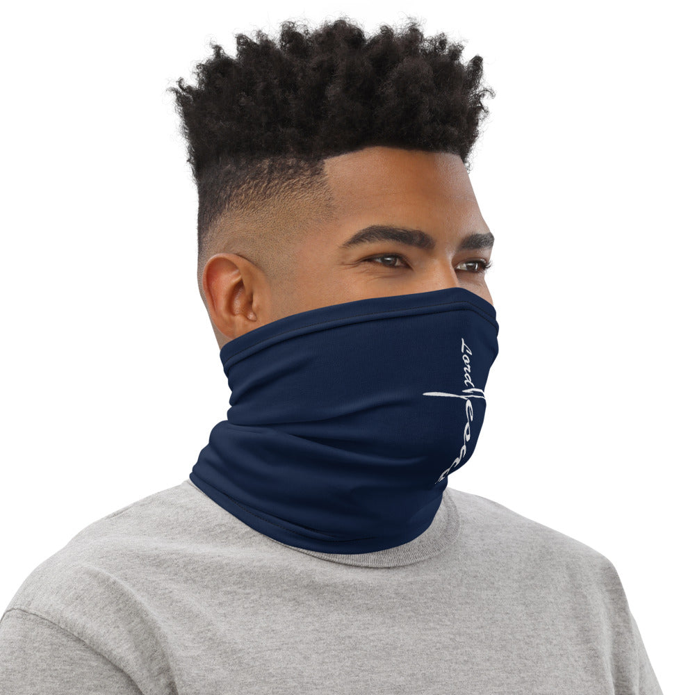 """Lord Jesus"" Navy Blue Neck Gaiter Face Mask by Ruck & Rotor"