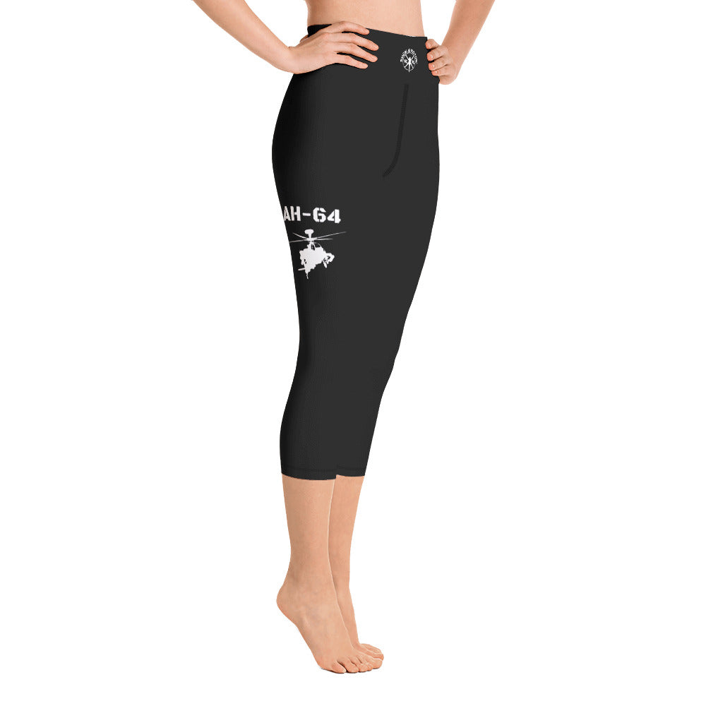 AH-64 Apache Helicopter Yoga Capri Leggings by Ruck & Rotor