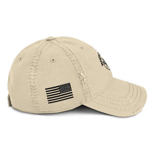 Ruck & Rotor w/USA Flag Distressed Hat Tan or Gray