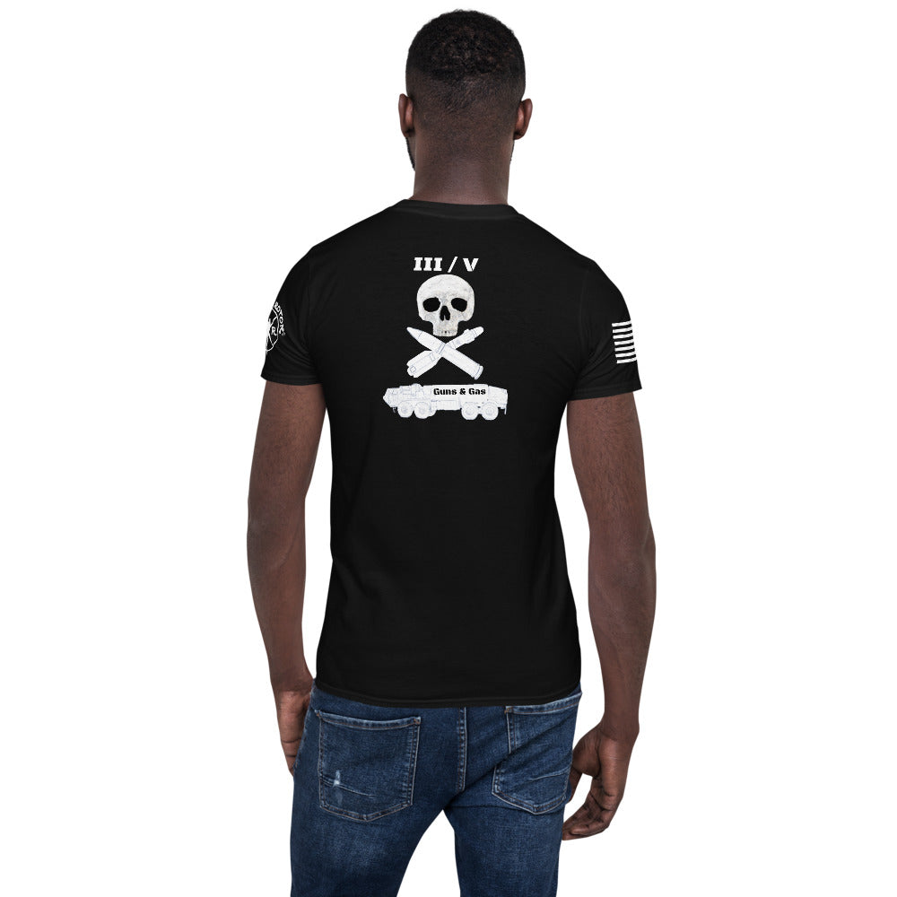 """III/V Guns & Gas"" Short-Sleeve Unisex T-Shirt by Ruck & Rotor"