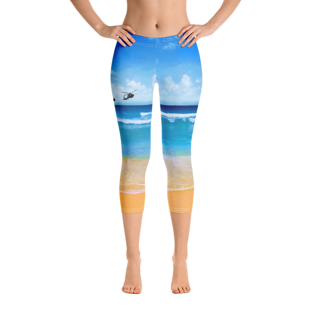 Sound of Freedom at the Beach Capri Leggings for women by Ruck & Rotor